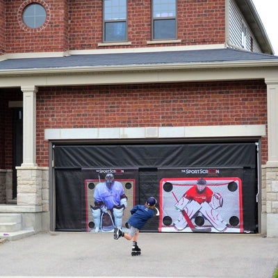 SportScreen Manual Garage Door Screen w/ Detachable Hockey Target (16ft)