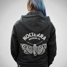 Load image into Gallery viewer, Hoodie - Heavyweight, Zip-Up with Moth Logo  - Heather Charcoal