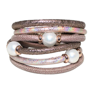 Italian Wrap Leather Bracelet With Mother of Pearl - DIDAJ