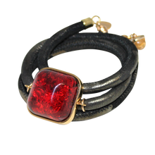Load image into Gallery viewer, Italian Wrap Leather Bracelet With Amber