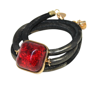 Italian Wrap Leather Bracelet With Amber