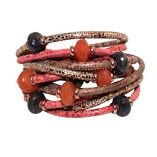 Load image into Gallery viewer, Italian Wrap Leather Bracelet With Gemstones & Mother of Pearl