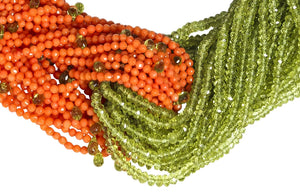 Dual Multi-Strand Faceted Peridot and Orange Coral Necklace - DIDAJ