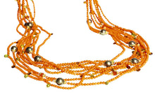 Load image into Gallery viewer, Long Multi-Strand Faceted Coral Necklace with Citrine, Peridot, Carnelian and Pearl Accents - DIDAJ