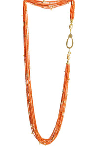 Long Multi-Strand Faceted Coral Necklace with Citrine and Pearl Accents - DIDAJ