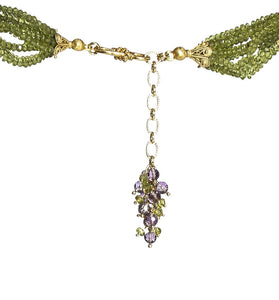 Long Multi-Strand Faceted Peridot & Amethyst Necklace with Amethyst Pave Bead - DIDAJ