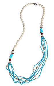 Long Multi-Strand Faceted Turquoise Necklace with Akoya Pearl, Ruby and Diamonds Accents - DIDAJ