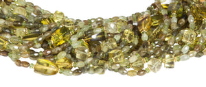 Multi-Strand Faceted Green Garnet, Peridot, Lemon Quartz and Olive Green Columbian Amber Necklace - DIDAJ