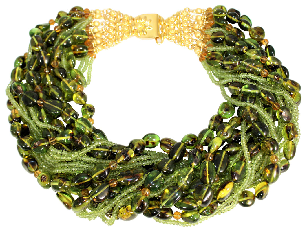 Multi-Strand Faceted Peridot, Citrine & Olive Green Columbian Amber Necklace