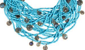 Multi-Strand Faceted Turquoise Necklace with Labradorite Charms - DIDAJ