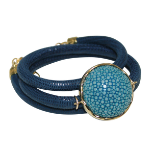 Italian Wrap Leather Bracelet With Stingray Connector