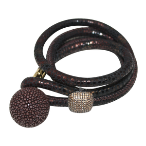 Gold & Coral Snake Italian Wrap Leather Bracelet With CZ Slider & Coral Stingray Sphere