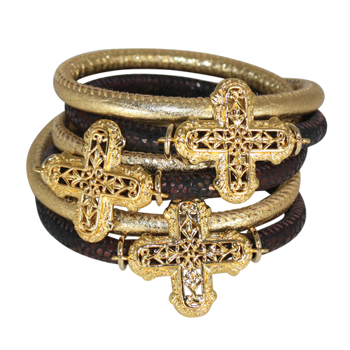 Italian Wrap Leather Bracelet With Crosses - DIDAJ