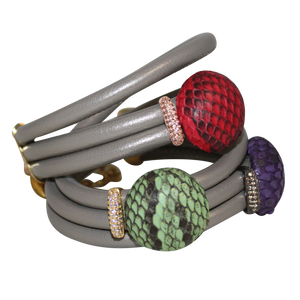 Italian Wrap Leather Bracelet With Exotic Leather Connectors - DIDAJ