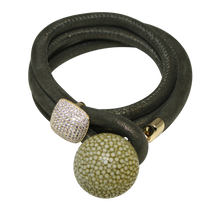 Load image into Gallery viewer, Gold & Coral Snake Italian Wrap Leather Bracelet With CZ Slider & Coral Stingray Sphere - DIDAJ