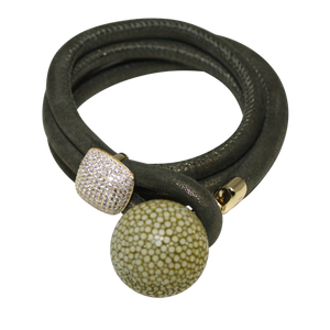 Gold & Coral Snake Italian Wrap Leather Bracelet With CZ Slider & Coral Stingray Sphere - DIDAJ