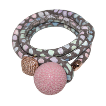 Load image into Gallery viewer, Gold & Coral Snake Italian Wrap Leather Bracelet With CZ Slider & Coral Stingray Sphere