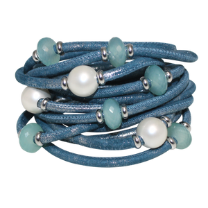 Italian Wrap Leather Bracelet With Gemstones & Mother of Pearl