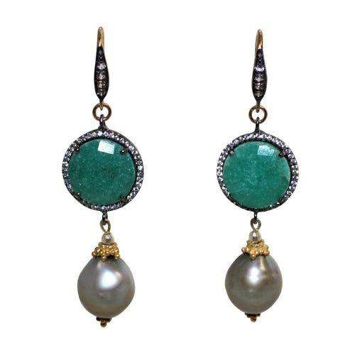 Faceted Emerald & Tahitian Grey Baroque Pearl Earrings - DIDAJ