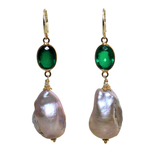 Faceted Green Doublet & Natural Baroque Pearl Earrings