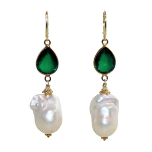 Faceted Green Doublet & White Baroque Pearl Earrings