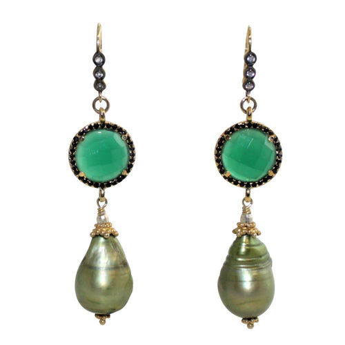 Faceted Green Onyx & Baroque Pearl Earrings