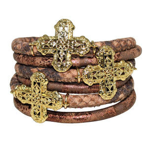 Italian Wrap Leather Bracelet With Crosses