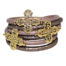Load image into Gallery viewer, Italian Wrap Leather Bracelet With Crosses