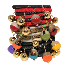 Load image into Gallery viewer, Italian Wrap Leather Bracelet With Lacquer Buffalo Horn Charms - DIDAJ