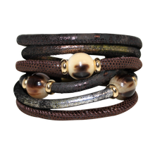 Load image into Gallery viewer, Italian Wrap Leather Bracelet With Buffalo Horn - DIDAJ