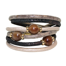 Load image into Gallery viewer, Italian Wrap Leather Bracelet With Buffalo Horn