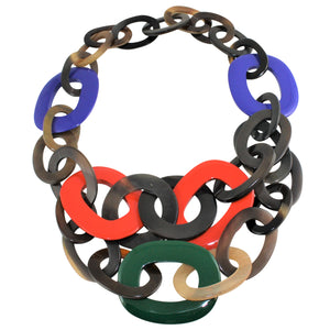 Necklace in Dark Red, Royal Blue & Green Lacquered Buffalo Horn