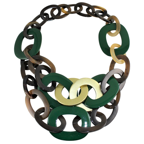 Necklace in Green & Gold Lacquered Buffalo Horn