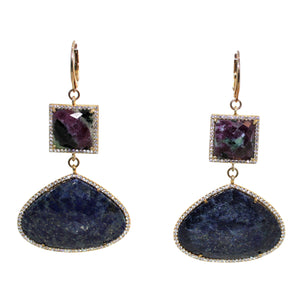 Faceted Lapis Lazuli & Ruby Zoisite Earrings