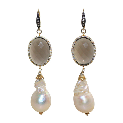 Faceted Smoky Quartz & Soft Gold Baroque Pearl Earrings - DIDAJ