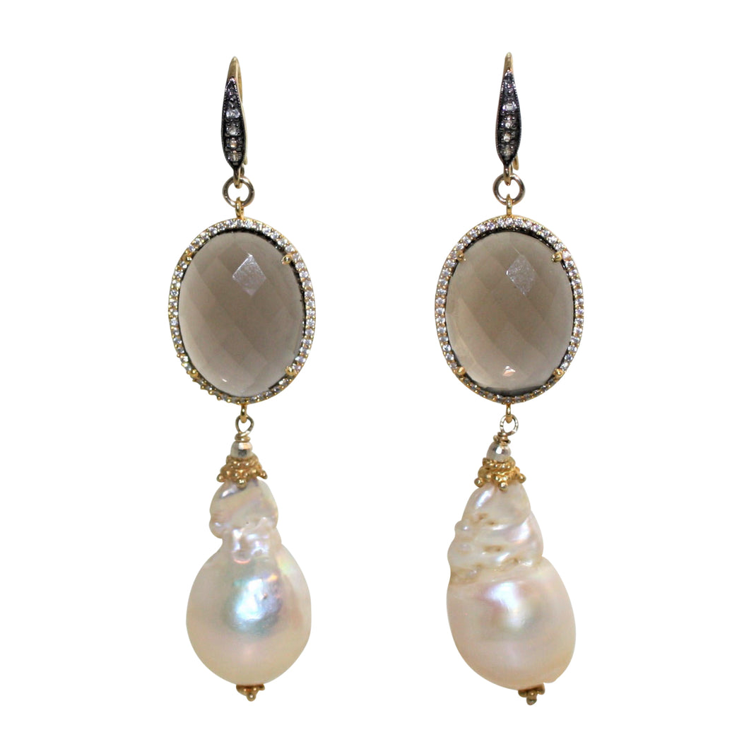 Faceted Smoky Quartz & Soft Gold Baroque Pearl Earrings