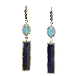 Faceted Lapis Lazuli & Laramar Earrings - DIDAJ