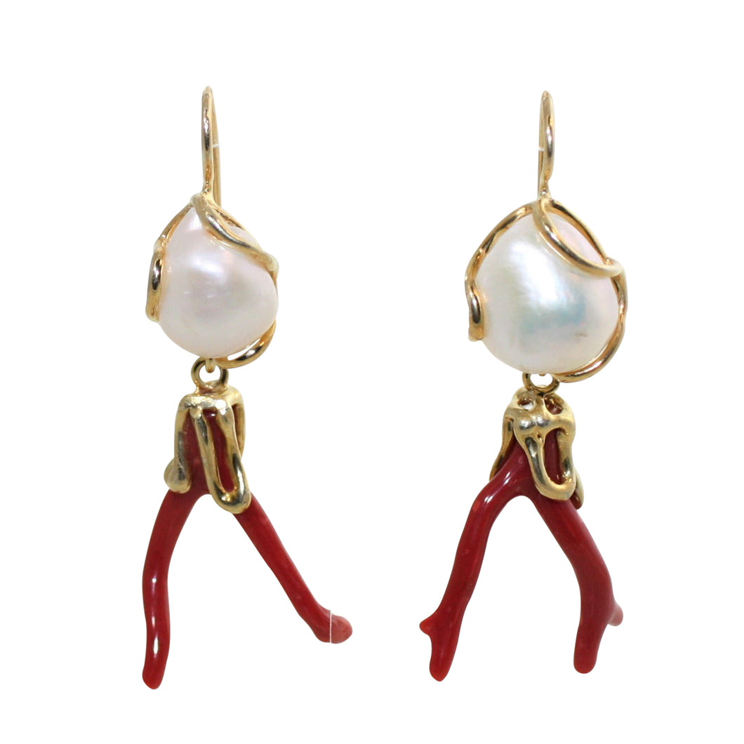 Italian Branch Coral & Baroque Pearl Earrings - DIDAJ
