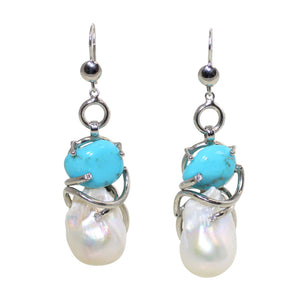 Italian Turquoise & Baroque Pearl Earrings