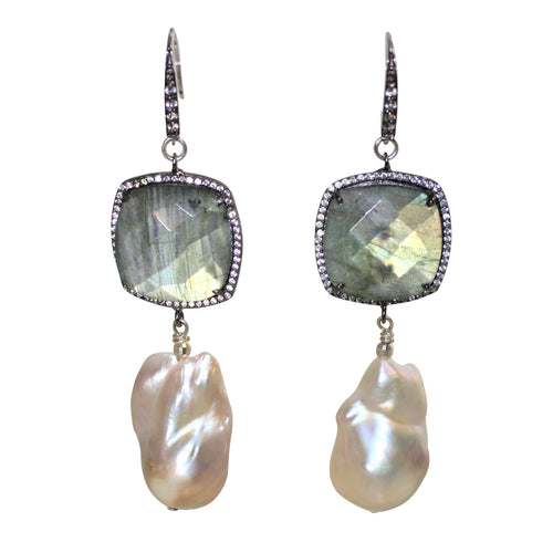 Faceted Labradorite & Baroque Pearl Earrings