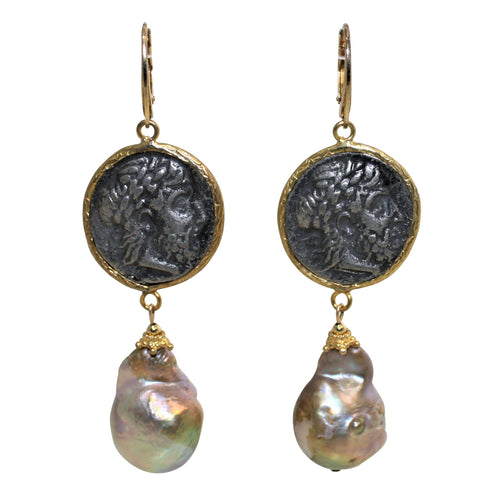 Roman Coin & Natural Baroque Pearl Earrings