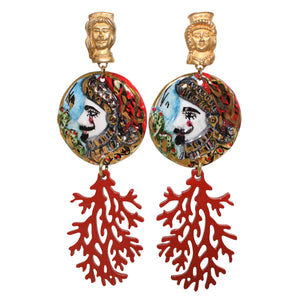 "Sicilian ""TESTE DI MORO"" & Buffalo Horn Coral Style Lacquered Earrings"