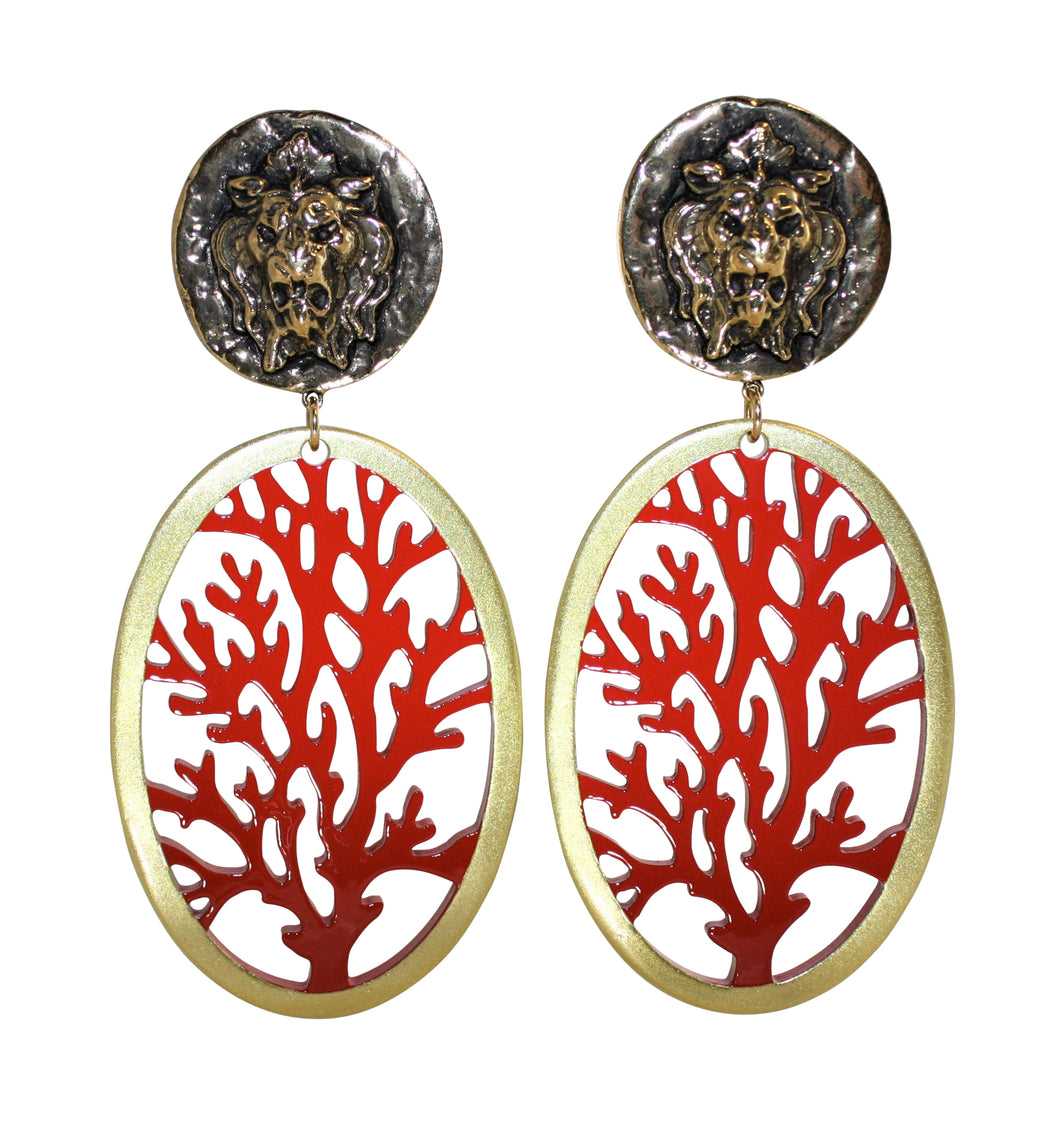 Buffalo Horn Coral Style Lacquered Earrings