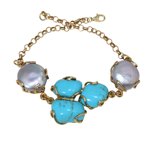 Italian Style Turquoise & Baroque Pearl Link Bracelet