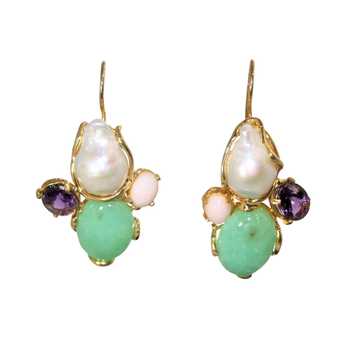 Italian Coral, Amethyst, Chrysoprase & Baroque Pearl Statment Earrings