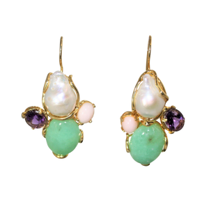 Italian Coral, Amethyst, Chrysoprase & Baroque Pearl Statment Earrings - DIDAJ