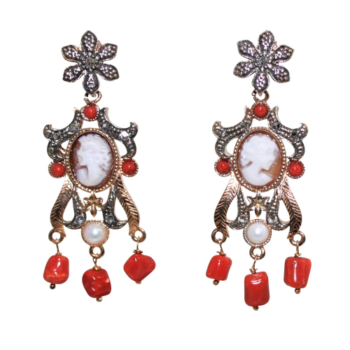 Italian Coral, Pearl & Cameo Earrings