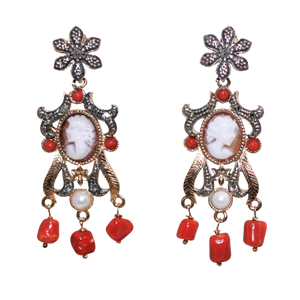 Italian Coral, Pearl & Cameo Earrings - DIDAJ