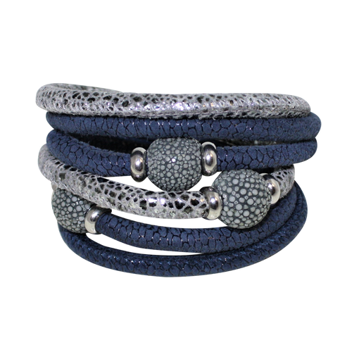 Italian Wrap Leather Bracelet With Stingray Beads - DIDAJ