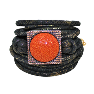 Italian Wrap Leather Bracelet With Stingray in CZ Buckle - DIDAJ